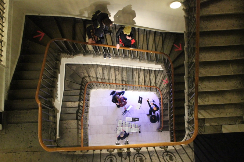 Jackie Walduck, Roland Ramanan and James Barralet performing Figures, Grounds and You, at the foot of the Stamp Stair, Somerset House. January 2015.